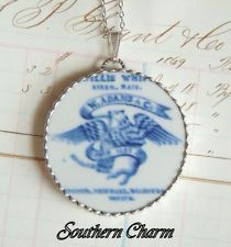 Victorian-Antique-Maker's Mark-Flow Blue--Broken China-Pendant-Necklace-Charm