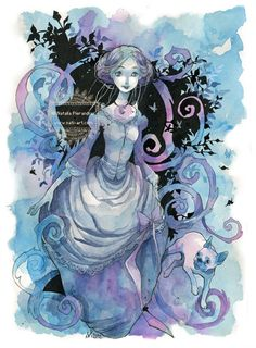 In Purple and Blue - Victorian - Watercolor - Original illustration by Natalia Pierandrei