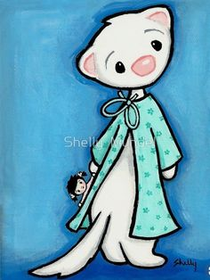 Items similar to Ferret Art ACEO print - Hiney - Shelly Mundel Art on Etsy Ferrets, Animal Sketches, Otters, Watercolor Art, Smurfs, Applique, Carpet, My Arts, Snoopy