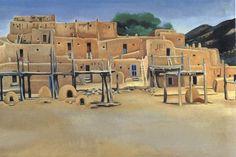 Georgia O'Keefe. (1934). Taos Pueblo.  [Oil painting on Canvas]. She was born on November 15, 1887 in Sun Prairie, WI.