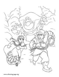 In this beautiful picture, Anna and Kristoff are running away from Marshmallow. What about have fun with this Disney Frozen movie coloring page?