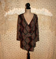 Womens Plus Size Tops 2X Blouse V Neck Black by MagpieandOtis