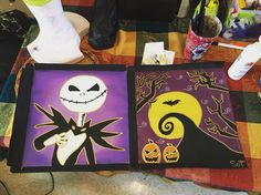 The nightmare before Christmas painted on a pizza box. Available on my etsy for sale.