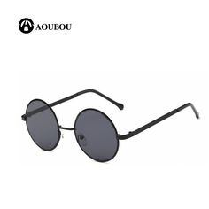 Sunglasses Men Retro Metal Round Flat Top Color Film Sun Glasses For Women Fashion Models Black Lens UV400 Circle Gafas 6140 #Affiliate