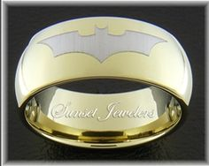 18kt Yellow Gold Plated Tungsten Batman Wedding Ring with Free Inside Engraving! Sunsetjewelers.com