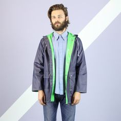 Navy & Green Reversible Raincoat  M by aglassjar on Etsy, $38.00