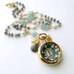 #2 Antigua III Sailor's Valentine Necklace-Aquamarine Labradorite