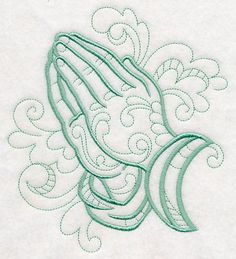 Doodle Praying Hands design (M4386) from www.Emblibrary.com