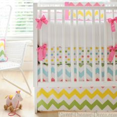 Zig Zag Baby in Rainbow Girls Crib Bedding Collection from New Arrivals Inc