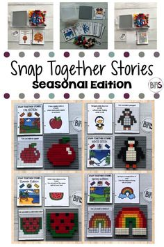 "Snap Together Stories can supplement your child's building brick (LEGO) pieces. Each snap together story contains a detailed brick inventory list, themed story line and nine corresponding LEGO-style designs.Each storyline uses poetry and clipart to introduce the objects as well as a repeating ""Can you build a _____?"" question on each brick page."
