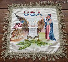 Wonderful Vintage WWI Patriotic Americana Eagle Silk Painted Pillow Sham
