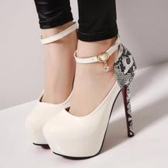 f76508683709 Stylish Snakeskin Ankle Strap Pump High Heels High Heel Pumps