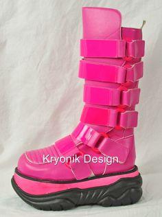 Demonia Neptune 310 Goth Cyber Platform Hot Pink UV Reactive Boots- biker peach