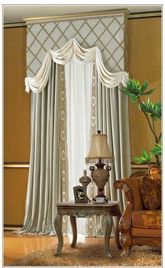 solid cornice board trimmed with fabric detail matching panels curtains