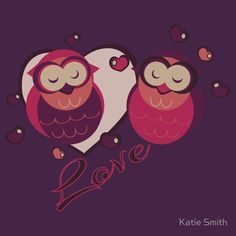 """Lovely Owls""  An original woman's tee design with two purple vector owls, hearts, and ""Love"""