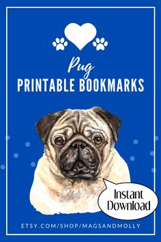 Colorful printable bookmarks featuring the Pug dog breed. No more dog ears for your books! Get these for yourself or as a gift for a fellow Pug lover. #MagsAndMolly #PugGifts #DogGifts #GiftsUnder$10 Printable Bookmarks, Printables, Pug Breed, Dog Gifts, Pugs, Dog Lovers, Colorful, Gift Ideas, Books