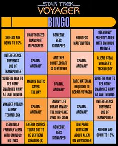 Star Trek Voyager Bingo... this is awesome. I want one for every Star Trek series. I would like to see a few more things on here though... Chakotay's right, Janeway's wrong... Neelix cooks something gross... ... Harry Kim dies...