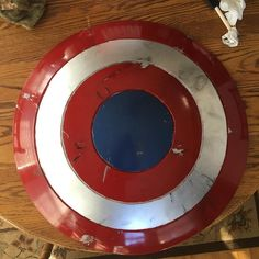 Trying to figure out how exactly I want to weather this bad boy. I'm wanting to add the three bullet hits from The First Avenger #civilwar #shield #cosplayweapon #cosplayprops #cosplay #costuming #rpf #props #costume #captainamerica #captainamericashield