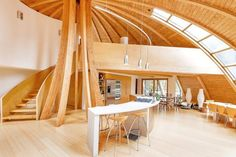 Prefab wooden dome home is constructed largely from organic materials.