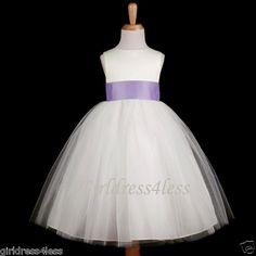 IVORY/LILAC WEDDING EASTER TULLE PRINCESS FLOWER GIRL DRESS 12-18M 2 4 6 8 10 12 | eBay