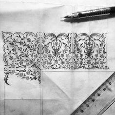 Beautiful Turkish Art by Dilara Yarcı Islamic Paintings, Illumination Art, Arabesque Pattern, Persian Motifs, Islamic Patterns, Turkish Art, Islamic Art Calligraphy, Stencils, Sketch Painting