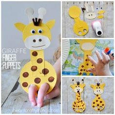 This adorable giraffe finger puppet craft is such a hoot and is so fun for kids . - This adorable giraffe finger puppet craft is such a hoot and is so fun for kids . Fun Crafts For Kids, Summer Crafts, Toddler Crafts, Projects For Kids, Crafts To Make, Art For Kids, Easy Crafts, Giraffe Crafts, Animal Crafts