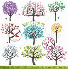 Watercolor Trees Clipart and Vectors by PinkPueblo on Creative Market
