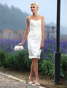 Sheath/Column Spaghetti Straps Knee-length Satin Wedding Dress - USD $ 79.99