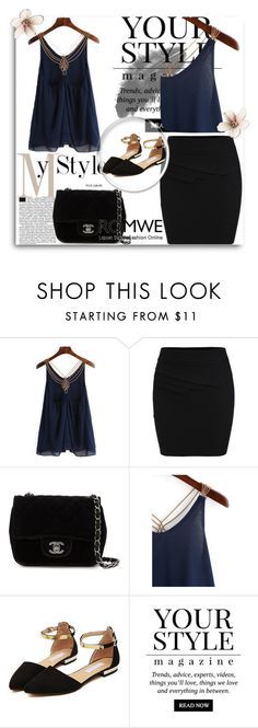 """""""Romwe 3"""" by amra-f ❤ liked on Polyvore featuring Chanel and Pussycat"""