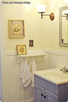 Cottage bathroom, simple but cute.
