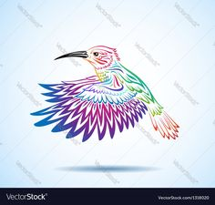 Illustration of a decorative colorful hummingbird. Download a Free Preview or High Quality Adobe Illustrator Ai, EPS, PDF and High Resolution JPEG versions.