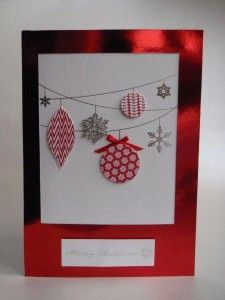 A  cute Christmas bauble card. You could use coloured card for the baubles, or material.