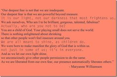 Quote about being you by Maryanne Williamson