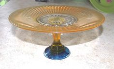 Halloween Orange Cake Plate Glass Cake Stand by MyYellowButterfly, $21.00