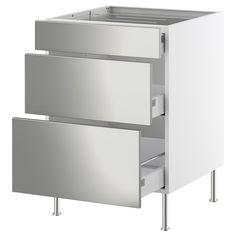 FAKTUM Base cabinet f hob/3 drawers - Rubrik stainless steel, 60 cm - IKEA
