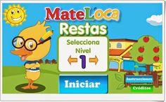 """""""Restas"""", de cluboca.com,  es un atractivo juego en el que practicar sencillas restas mentalmente. Con cuatro niveles de dificultad, aunque son todos muy sencillos, por lo que puede servir para Educación Infantil y 1º nivel de Educación Primaria."""
