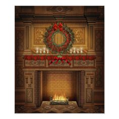 Christmas Fireplace Art Print by FantasyArtDesigns - X-Small Christmas Scenery, Christmas Themes, Christmas Wreaths, Holiday Decor, Christmas Ad, Christmas Posters, Christmas Backdrops, Holiday Fun, Festive