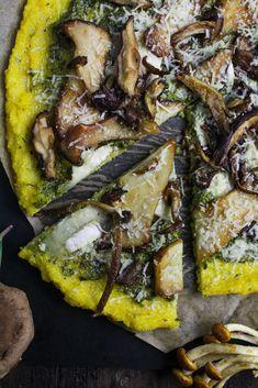 Polenta Pizza With Wild Mushrooms And Ramp Pesto | {Katie At The Kitchen  Door}