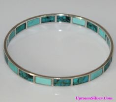 Silpada High Seas Magnesite Turquoise Inlay 925 Sterling Silver Bangle Bracelet
