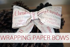 101 Days of Christmas: Wrapping Paper Bows > Life Your Way 12 Days Of Christmas, Christmas Goodies, Christmas Crafts, Christmas Decorations, Merry Christmas, Wrapping Paper Bows, Present Wrapping, Bow Tutorial, Paper Folding