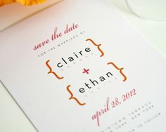 Save the Date in Pink and Orange