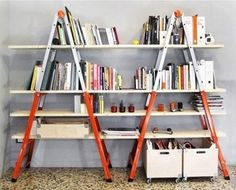 DIY Bookshelves : 18 Creative  Ideas and Designs. This idea with old wooden ladders would be amazing!