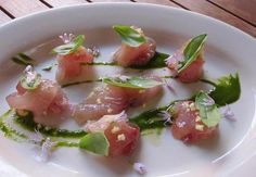 Artful plating - for salmon tartare with cilantro oil