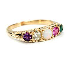 Edwardian ADORE Gem Set Acrostic Ring