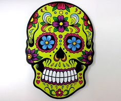 $55 Sugar Skulls - Wall Clock - Day of the Dead - Dia De Los Muertos - Decoration