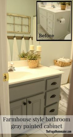 Guest bathroom update & Farmhouse style bathroom gray painted cabinet Source by sandrafrances The post Guest bathroom update – Farmhouse style bathroom gray painted cabinet appeared first on George Garden Services. Grey Bathroom Paint, Grey Bathroom Cabinets, Painting Bathroom Cabinets, Diy Cabinets, Bathroom Flooring, Silver Bathroom, Modern Cabinets, Kitchen Cabinets, Bathroom Yellow