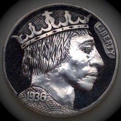 DIMAS SÁNCHEZ MORADIELLOS HOBO NICKEL - THE KING - 1936 BUFFALO PROFILE Hobo Nickel, Bullion Coins, Coin Collecting, Art Forms, Sculpture Art, Carving, Buffalo, Cactus, Profile
