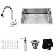 KRAUS All-in-One Undermount 30x18x15.2 0-Hole Single Bowl Kitchen Sink with Chrome Accessories