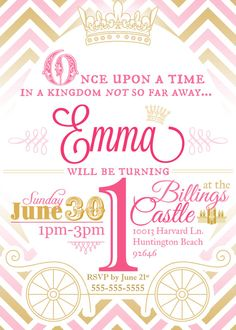 Custom Princess Birthday Party Invitation in Gold and Pink Chevron by MulliganDesigns on Etsy