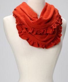 Take a look at this Orange Wool Ruffle Infinity Scarf by Portolano on #zulily today!